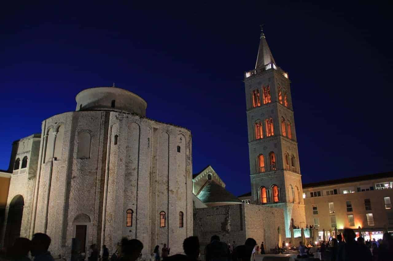 The bell tower Zadar at night