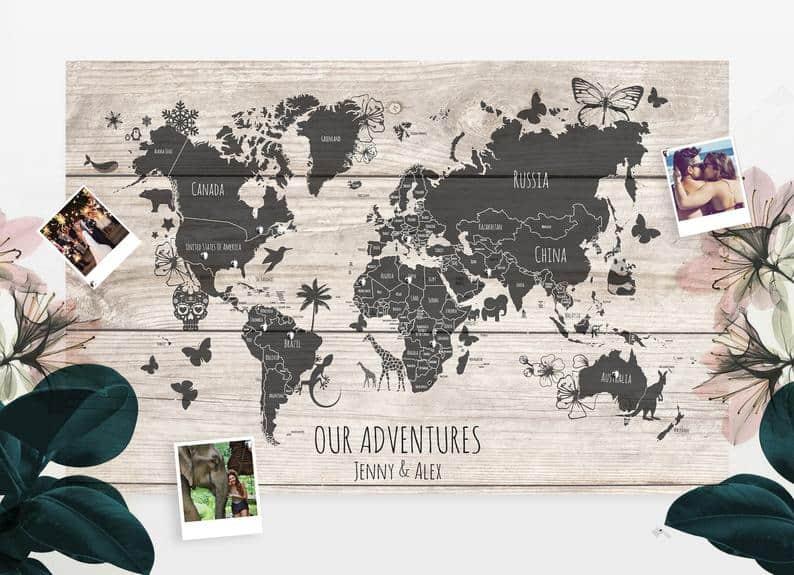 push pin map travel gift
