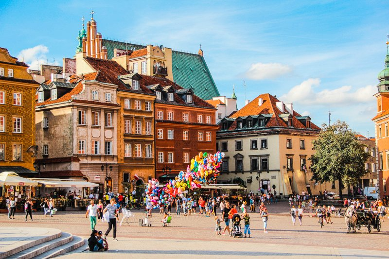 Town square Warsaw, Poland. Hidden gems in Europe