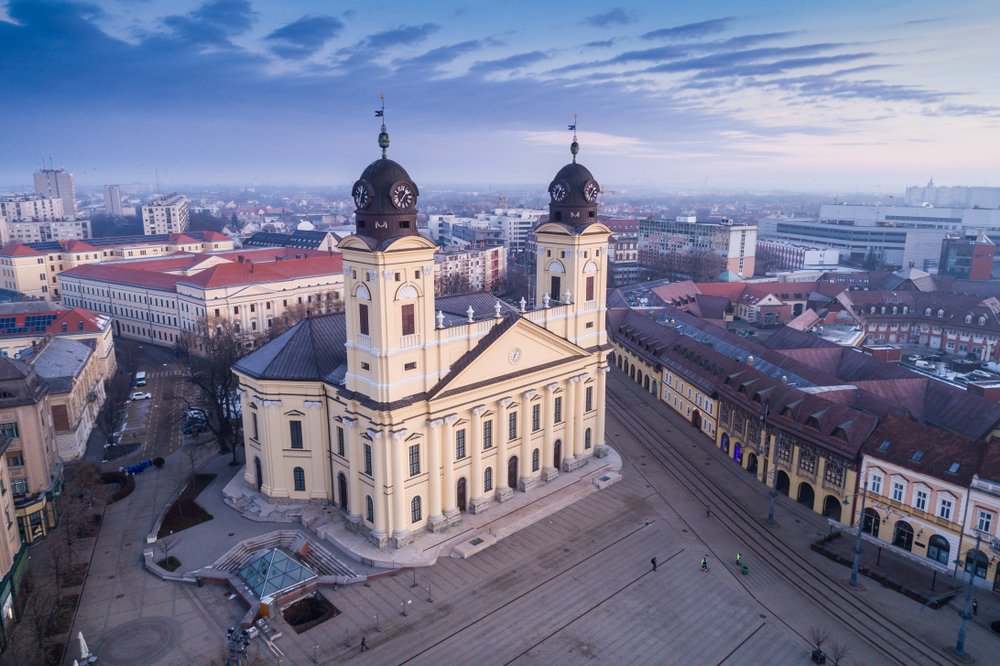 Aerial view of Debrecen, Hungary. Underrated destinations in Europe
