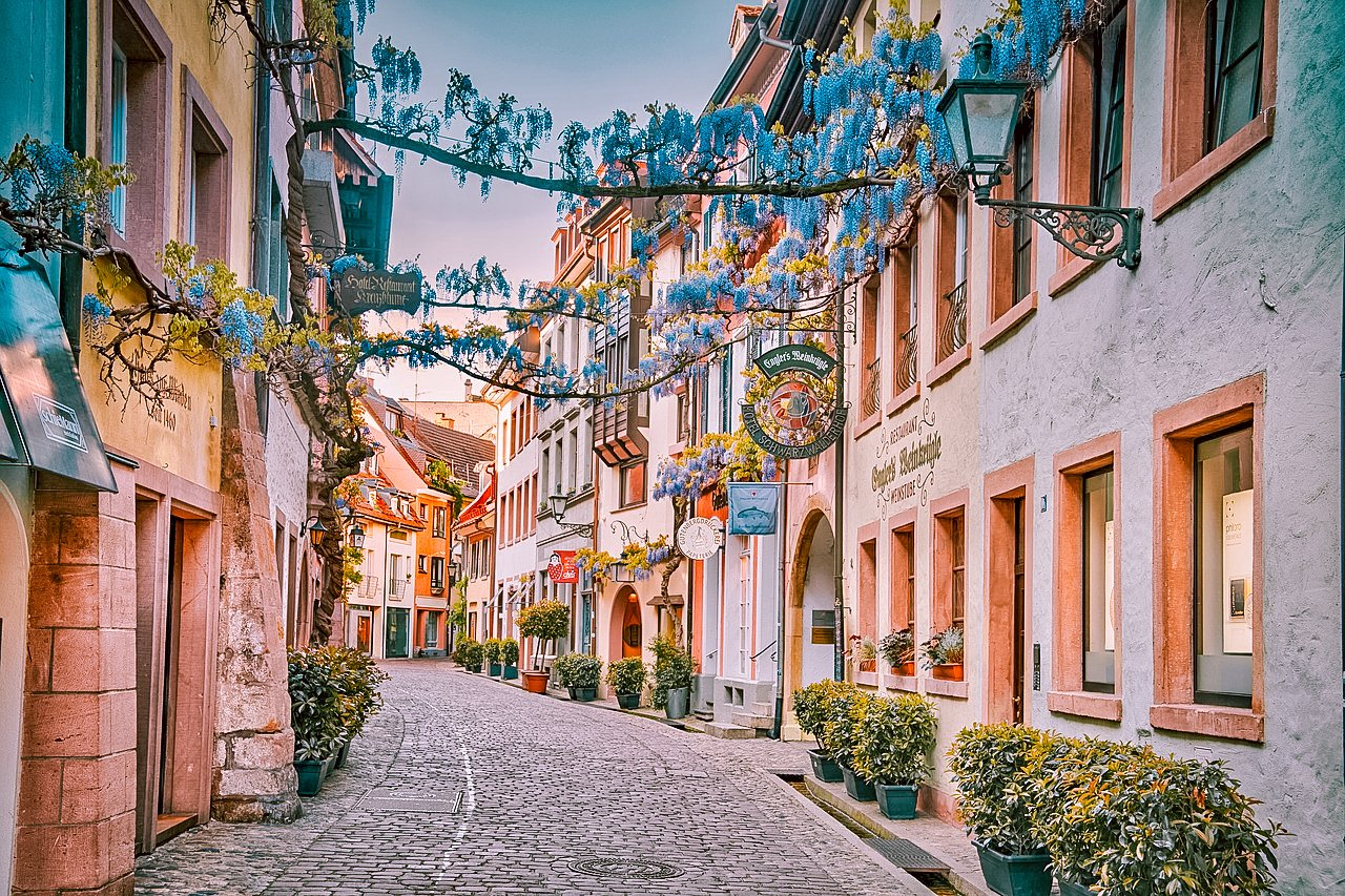 Hidden gems in Europe. Cobblestone lane, Freiburg, Germany